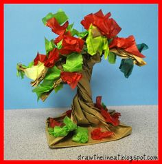 trees made from a paper bag and tissue paper