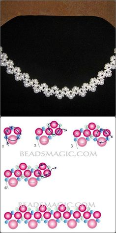 White beads nd pearls necklace Best Seed Bead Jewelry 2017 Free pattern for beaded necklace Galaxy Necklace picture and instructions beaded Wanna this glass and pearl bea Image detail for -Beading Clas Bead Crafts, Jewelry Crafts, Handmade Jewelry, Geek Jewelry, Jewelry Ideas, Jewelry Design, Fashion Jewelry, Bead Jewellery, Seed Bead Jewelry