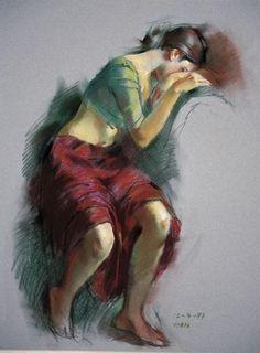 Woman Painting, Figure Painting, Painting Art, Art Sketches, Art Drawings, Om Art, Indian Art Gallery, Indian Art Paintings, Indian Artist