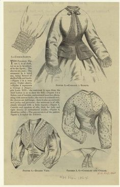 Fashion Civil War style. Woman's shirt and jacket details. 1864