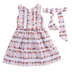 2-7Y Fashion Baby Girl Clothes Arrow Printed Suit Sleeveless Dress   Headband 2pcs Outfit Toddler Kids Summer Costume