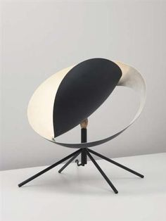 Serge Mouille; Painted Metal and Brass 'Grande Saturne' Desk Lamp, c1958.