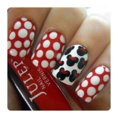 Minnie Mouse nails! Pose by julepmaven