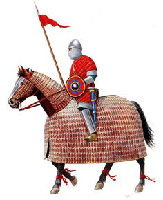 """un klibanophoroi byzantin l'unité des """"Athanatoi (immortels) a été crée au tout début du Xe siècle, et servait à percer le centre ennemi. elle était formée en coin, les cavaliers armés de la lance formaient le premier rang, les autres rangs étant armés d'épées ou de masses d'armes et le dernier rang, plus léger était composé d'archers à cheval."""