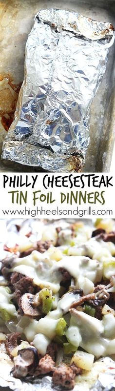 Philly Cheesesteak Tin Foil Dinners - Beef, green peppers, onions, mushrooms, provolone, salt, and pepper, wrapped up in an easily made tin foil packet. Tin Foil Dinners, Foil Packet Dinners, Foil Pack Meals, Foil Packets, Hobo Dinners, Grilling Recipes, Beef Recipes, Cooking Recipes, Carne Asada