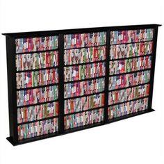 "Venture Horizon Triple 50"" CD DVD Wall Media Storage Rack-Black"