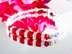 Red Crystal Bracelet created with Swarovski Red Siam Cubes and Aurora Borealis Crystals.