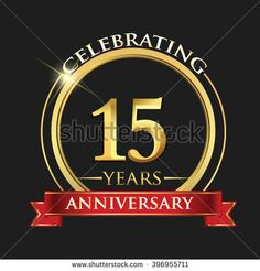 Celebrating 15 years anniversary logo. with golden ring and red ribbon. - stock vector