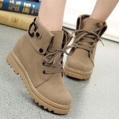 Pretty Lace-Up and Pure Color Design Women's Short Boots (APRICOT,36) in Boots | DressLily.com