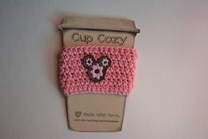 Crochet Cup Cozy, Drink Sleeves, Etsy Shop, Mugs, Tableware, Unique Jewelry, Handmade Gifts, Happy, Pink