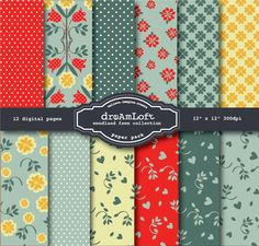 Woodland Fawn Collection Digital Paper Pack for cards, stationary, invitations, scrapbooking and all paper crafts. $3.99, via Etsy.