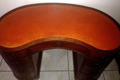 Maddox Antique Kidney Shaped Desk Orange Leather Solid Wood Mahogany Veneer USA #Kidney #MaddoxTable