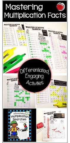 54 differentiated multiplication searches to get your students engaged in mastering their multiplication facts. Ideal for guided math centers, practice work, or homework. Grades 2-4 Created by TchrBrowne / Terri's Teaching Treasures