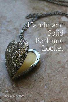 DIY Solid Perfume Locket   1.5 tsp almond or jojoba oil 1 tsp beeswax pellets 15-25 drops essential oils Empty locket