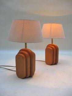 Teak/Brass Table Lamps