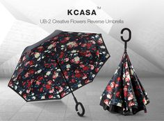 KCASA UB-2 Reverse Umbrella Flowers Creative Double Layers Windproof Self-standing Car Rain Gear at Banggood