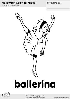 Free ballerina coloring page from Super Simple Learning. Tons of Halloween worksheets, flashcards, and crafts at www.supersimplelearning.com/resource-room. #costume #kindergarten #preK #ESL