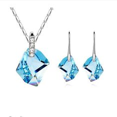 BLUE ICE SET Mothers Day Gift Necklace Pendant w Authentic SWAROVSKI CRYSTAL | eBay