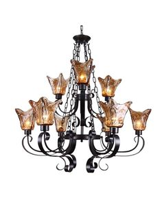 Antique Finish 9 Lights Chandelier with Amber Glass Shades