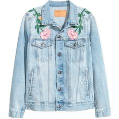 Embroidered Denim Jacket $49.99 (155 BRL) ❤ liked on Polyvore featuring outerwear, jackets, denim jackets, tops, floral jean jackets, blue floral jacket, button jacket, embroidered jean jacket and distressed jacket