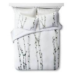 Birch Print Duvet Set - Queen - Natural&White - 3pc - STILL by Mary Jo™ : Target