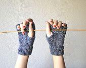 Grey Fingerless gloves, mittens handknitted with wool