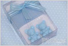 Lembrancinha - Toalha de mão - Ursinhos Azul