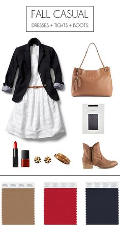 Cute fall outfit for work: belted dress + blazer + tights + boots.