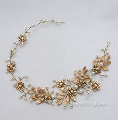 Wedding Hair Vine Brass Flower and Leaf Bridal por BeSomethingNew