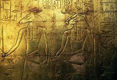 Deities engraving of the rear panel of the third funeral chapel covered in gold Treasury of Tutankhamun Egypt