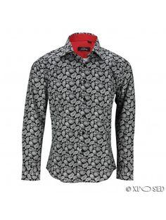 Mens White on Black Vintage Paisley Print Cotton Shirt Long Sleeve Smart Casual