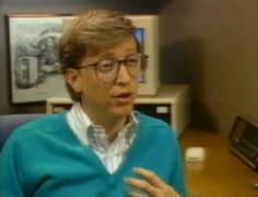 """1987 Predictions From Bill Gates: """"Siri, Show Me Da Vinci Stuff""""  by MATT NOVAK  READ LATER     Bill Gates (from a 1987 Microsoft promotional video)    In 1987, Bill Gates became the world's youngest self-made billionaire, making the Forbes 400 Richest People in America list with a net worth of $1.25 billion, up from a measly $900 million the year before.Gates was just 32 years old and Microsoft Windows was still very much in its infancy, the operation system ha"""