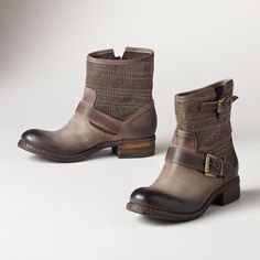 "BOUND FOR GLORY BOOTS -- Be unstoppable in our Italian-made boots, seeped in Sundance style with an independent spirit. Boasting soft, metallic fabric mesh, burnished leather and double buckles. Exclusive. Euro whole sizes 36 to 41. 36 (US 6.75), 37 (US 7.5), 38 (US 8.25), 39 (US 9), 40 (US 9.75), 41 (US 10.5). 1"" heel."