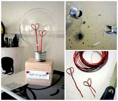 Heart Bulb | 40 Unconventional DIY Valentine's Day Cards