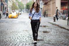 Monika Chiang leather track pants