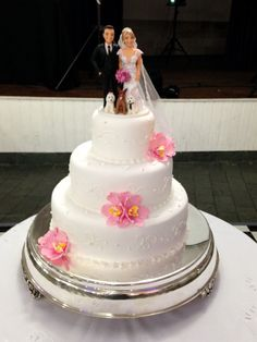 Bolo casamento - flores rosas