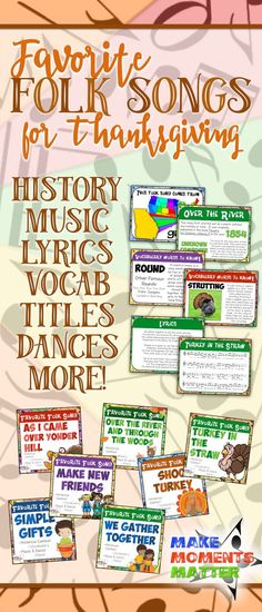 """This """"Favorite Folk Song"""" kit is intended to help you teach the folk song and reinforce historical content and vocabulary at the same time. Included are historical references, vocabulary, music, lyrics, dances, and more.  Use the PowerPoint files during i"""