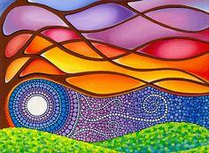"""Wild Wind Worn Tree"" Greeting Cards & Postcards by Elspeth McLean Dot Art Painting, Mandala Painting, Stone Painting, Aboriginal Dot Art, Elspeth Mclean, Indigenous Art, Diy Arts And Crafts, Art Plastique, Stone Art"