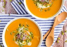 A bowl full of sweet potato soups will warm you right up on a chilly fall or winter day. Check out our roundup of the best sweet potato soup recipes out there, and try one out for lunch or dinner. Soup Recipes, Vegetarian Recipes, Dinner Recipes, Cooking Recipes, Healthy Recipes, Sopa Detox, Snacking, Sweet Potato Soup, Sweet Potato And Butternut Squash Recipe