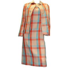 Preowned 1960s Givenchy Plaid Dress Suit (£1,905) ❤ liked on Polyvore featuring dresses, brown, givenchy dress, brown dress, red tartan dress, tartan dress and sleeved dresses