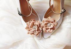 Khaki Flower Shoe Clips  Wedding Shoes Bridal by NAFEstudio