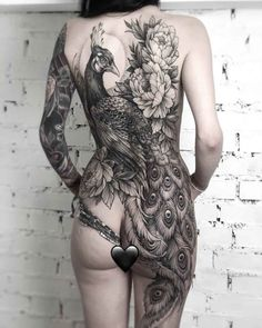 Full body tattoos are the form of body modification and decoration. These tattoos are really intriguing Full Back Tattoos, Full Body Tattoo, Body Art Tattoos, New Tattoos, Girl Tattoos, Sleeve Tattoos, Tatoos, Peacock Tattoo Sleeve, Nurse Tattoos