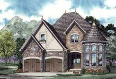 English Country Style House Plans - 2889 Square Foot Home , 2 Story, 4 Bedroom and 2 Bath, 2 Garage Stalls by Monster House Plans - Plan 12-901