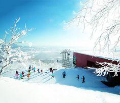 Club Med Hokkaido ゴンドラ降りたところ