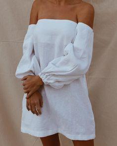 Mode Outfits, Fashion Outfits, Womens Fashion, Off Shoulder Fashion, Summer Outfits, Summer Dresses, White Mini Dress, Mode Inspiration, Minimalist Fashion