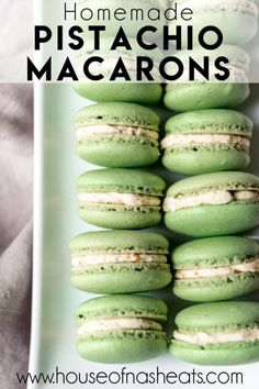 These delightful Pistachio Macarons are filled with pistachio buttercream and remind me of our time in Paris and the famous French macarons we got from Ladurée. Let your tastebuds do the traveling without the jetlag by making these at home! Macarons Filling Recipe, Pistachio Macaron Recipe, Macaroon Filling, Pistachio Recipes, Macaron Flavors, Pistachio Pudding, Macaroon Cookies, Best Dessert Recipes, Baking