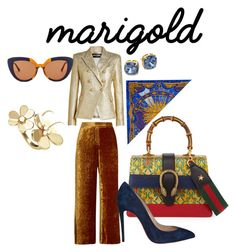 """""""Marigold in its finest"""" by chez-che on Polyvore featuring Balmain, A.L.C., Gucci, Christian Louboutin, Hermès, Van Cleef & Arpels, Marni and Tory Burch"""