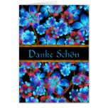 German Thank You Blue Flowers Card- Blank Card