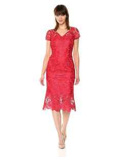 Carmen Marc Valvo Infusion Womens V Front Lace Cocktail Dress With Higher Hem Lining Red 14 >>> You can get more details by clicking on the image-affiliate link. #WomenDresses