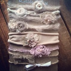 Gorgeous set of Organic looking tiebacks Please note that this set is made to order . Processing time is from one week up to 3 weeks . All my headbands are made with love. I use good quality products . Headbands are made to last. For newborn photographers props. These headbands are one